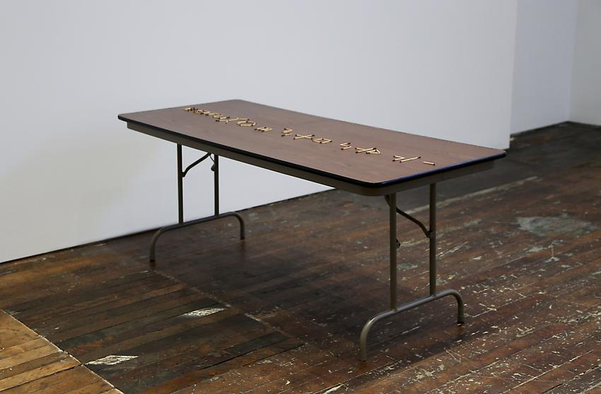 Mel Bochner<br />To Count: Transitive<br />1973<br />burnt matchsticks on folding table<br />size determined by installation<br />