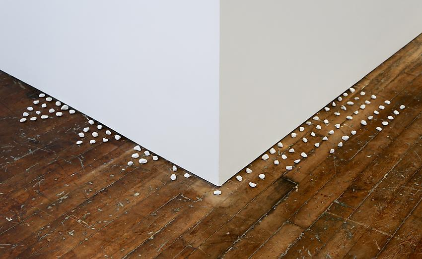 Mel Bochner<br />Triangular and Square Numbers<br />1972<br />stones on floor<br />size determined by installation<br />