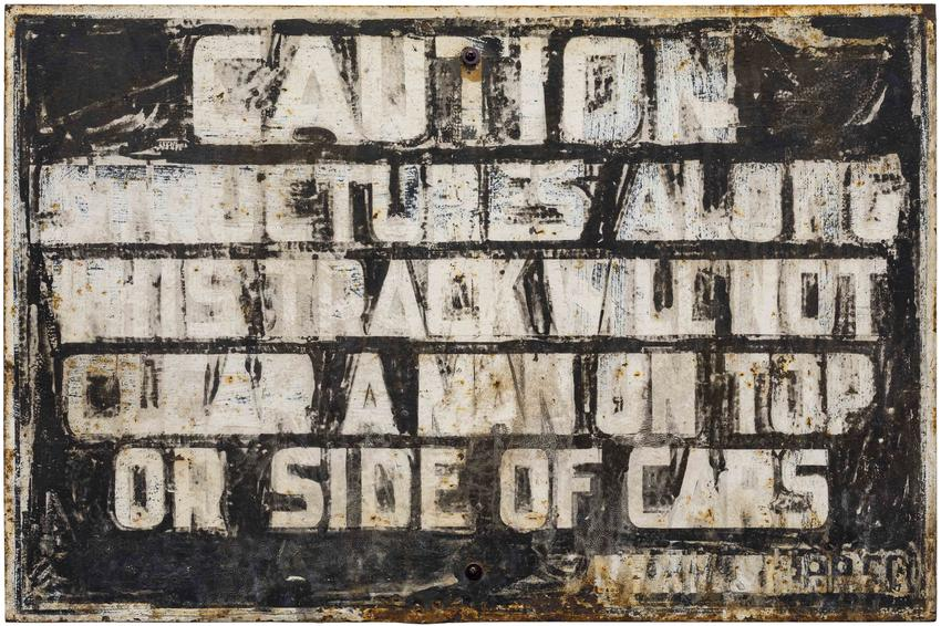 MATT MULLICAN<br /><br /><i>A Man</i><br />2016<br />found object, paint on steel circa 1930's<br />24 3/16 x 36 5/16 x 1/4 inches<br />  (61.4 x 92.2 x .6 cm)<br />PF4367<br />