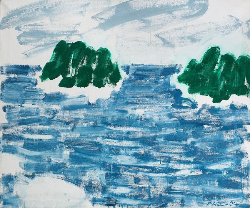 <b>Stephen Pace</b> (1918 - 2010)<br /><br /><i>Two Islands, Sunny Day (04-9M)</i><br />2004<br />oil on canvas<br />30 x 36 inches<br />  (76.2 x 91.4 cm)<br />PF5063<br />