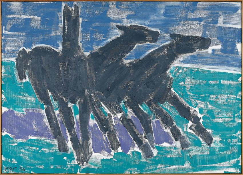 <B>Stephen Pace</B> (1918 - 2010)<br /><br /><i>Wild Horses #2 (96-11)</i><br />1996<br />oil on canvas<br />30 x 42 inches<br />  (76.2 x 106.7 cm)<br />PF5064<br />