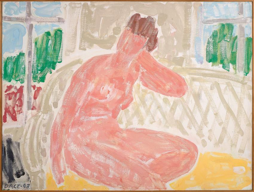 <B>Stephen Pace</B> (1918 - 2010)<br /><br /><i>Nude on Wicker Settee (93-3)</i><br />1993<br />oil on canvas<br />32 x 42 inches<br />  (81.3 x 106.7 cm)<br />PF5065<br />