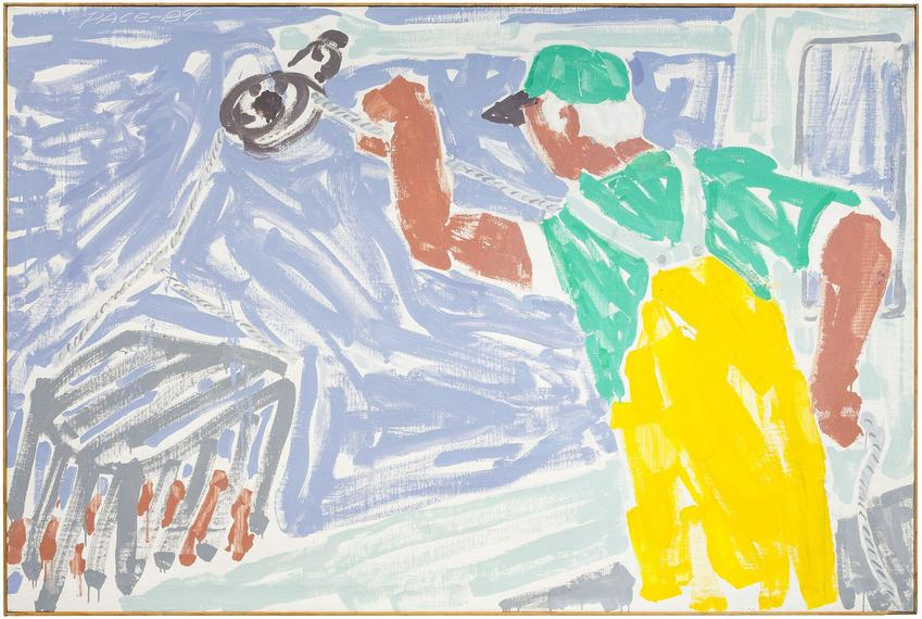 <b>Stephen Pace</b> (1918 - 2010)<br /><br /><i>Pulling Lobster Traps (89-7)</i><br />1989<br />oil on canvas<br />48 x 72 inches<br />  (121.9 x 182.9 cm)<br />PF5095<br />