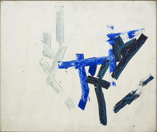 Charlotte Posenenske<br />Spachtelarbeit [Palette-knife work]<br />1959/1960<br />acrylic on hard fiber mounted on<br /> masonite<br />paper: 21 5/8 x 25 5/9 inches<br /> (54.9 x 64.9 cm)<br />PF1514<br />