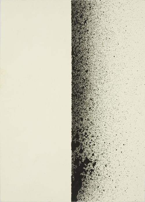 Charlotte Posenenske<br />Spritzbild [Sprayed Picture]<br />1964/1965<br />spray pigment on paper<br />paper:7 1/8 x 5 1/8 inches<br /> (18.1 x 13 cm)<br />PF1519<br />