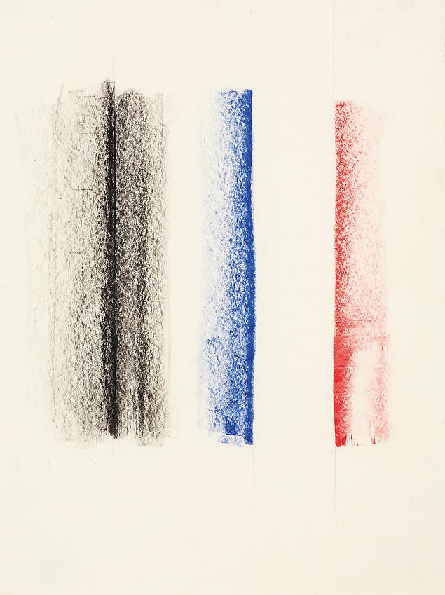 Charlotte Posenenske<br />Zeichnung [Drawing]<br />1964<br />coloured pencil on paper<br />paper: 6 1/8 x 4 5/8 inches<br /> (15.5 x 11.7 cm)<br />framed: 15 3/4 x 11 3/4 inches<br /> ( 40 x 29.8 cm)<br />PF3139<br />