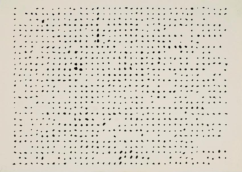 Charlotte Posenenske<br />Rasterbild [Grid]<br />1957<br />casein on paper<br />paper: 12 1/4 x 17 5/16 inches<br /> (31.1 x 43.9 cm)<br />framed: 16 7/8 x 22 1/8 inches<br /> (42.9 x 56.2 cm)<br />PF3143<br />