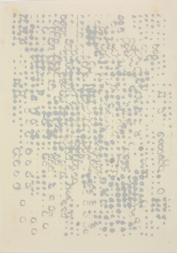 Charlotte Posenenske<br />Rasterbild [Grid]<br />1957<br />casein on paper<br />paper: 17 1/4 x 12 1/4 inches<br /> (43.8 x 31.1 cm)<br />framed: 21 3/4 x 16 3/4 inches<br /> (55.2 x 42.5 cm)<br />PF3145<br />