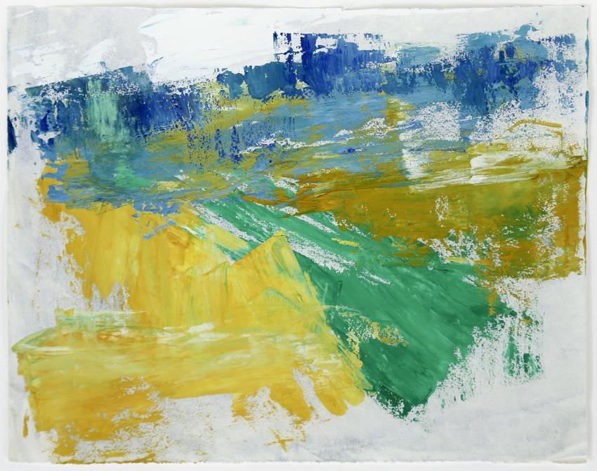 <u>Spachtelarbeit (Landschaft bei Heftrich im Taunus) [Palette-knife work (Landscape, near Heftrich in Taunus)]</u><br />1958<br />casein on paper<br />9 3/4 x 12 1/4 inches (24.8 x 31.1 cm)<br />PF3172<br />