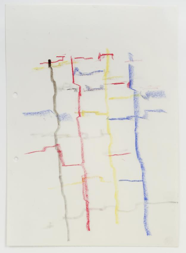 Charlotte Posenenske<br />Zeichnung (Landschaft) [Drawing (Landscape)]<br />1962<br />colored pencil on paper<br />paper: 11 5/8 x 8 1/4 inches<br /> (29.5 x 20.9 cm)<br />framed: 16 1/8 x 12 3/4 inches<br /> (40.9 x 32.4 cm)<br />PF3190<br />
