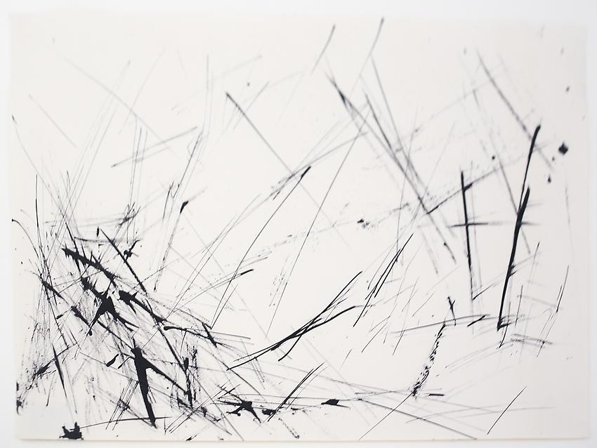 Charlotte Posenenske<br />Gestische Arbeit [Gestural work]<br />1963<br />ink or acrylic on paper<br />paper: 13 3/8 x 18 3/4 inches<br /> (33.9 x 47.6 cm)<br />framed: 18 x 23 1/2 inches<br /> (45.7 x 59.7 cm)<br />PF3197<br />
