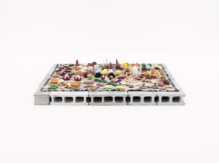<u>Picnic</u><br />2005-2013<br />mixed media<br />31 1/2 x 28 1/4 x 5 3/8 inches (80 x 71,7 x 13,6 cm)<br />Smithsonian American Art Museum<br />