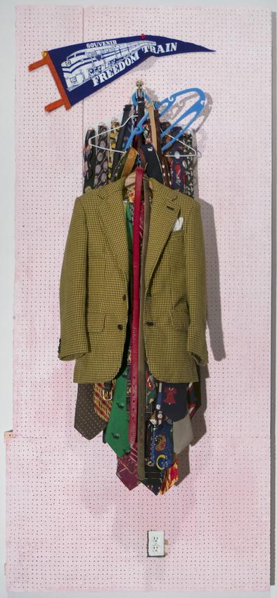 <u>Freedom Train</u><br />2013-2015<br />fabric, thread, leather, metal, wood, paint and plastic<br />39 3/4 x 18 x 6 1/2 inches (101 x 46 x 16,5 cm)<br />Wadsworth Atheneum<br />