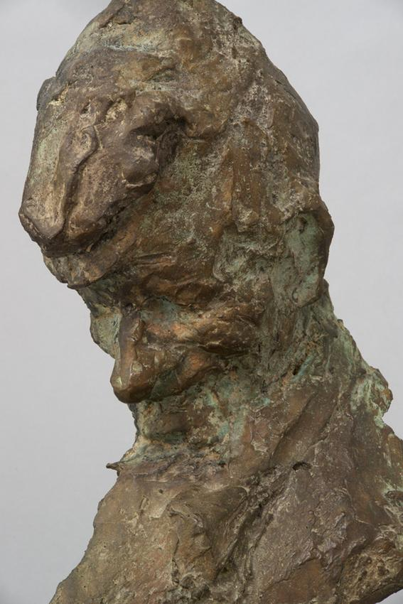 Medardo Rosso (1858 - 1928)<br /><br />Sagrestano (detail)<br />1883; thought to be cast 1890-1896<br />cast bronze<br />14 1/2 x 9 5/8 x 6 3/4 inches<br />(36.8 x 24.4 x 17.1 cm)<br />overall:<br />16 1/2 x 9 7/8 x 7 1/4 inches<br />(41.9 x 25.1 x 18.4 cm)<br />PF3524<br />