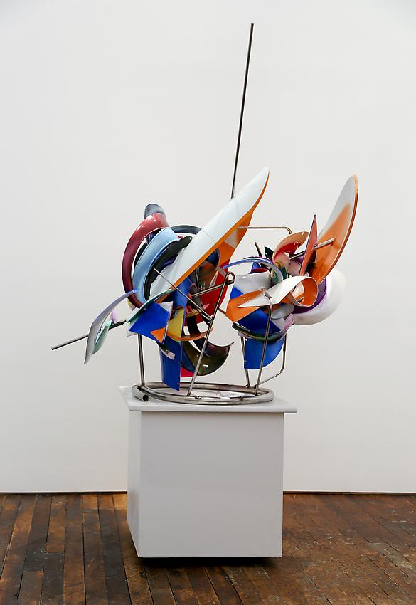 Frank Stella<br />K.144 sections<br />2013<br />paint on Acrylonitrile Butadiene Styrene and stainless steel<br />63 x 55 x 45 inches  (160 x 139.7 x 114.3 cm)<br />PF3036<br />
