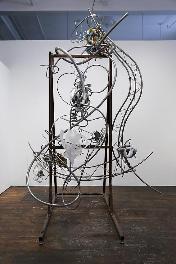 Frank Stella<br />The Big Flea Easel<br />2013<br />paint on TUSK Solid Gray 3000, aluminum and stainless steel<br />152 x 134 x 111 inches (386.1 x 340.4 x 281.9 cm)<br />PF3040<br />