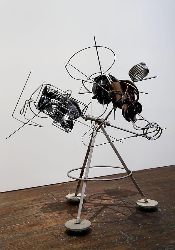 Frank Stella <br />The Big Flea Tripod<br />2013<br />paint on TUSK Solid Gray 3000, aluminum and stainless steel<br />65 x 56 x 53 inches (165.1 x 142.2 x 134.6 cm)<br />PF3042<br />