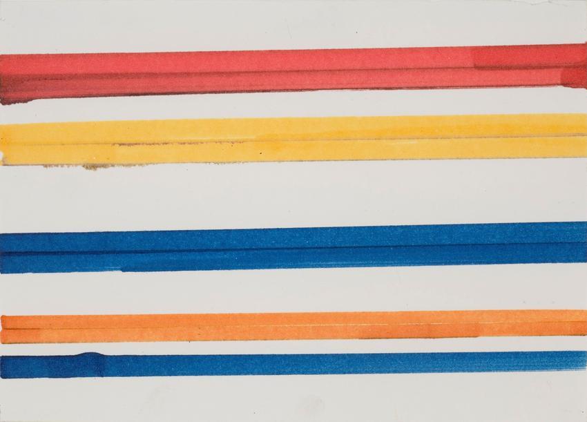 <u>Streifenbild [Striped Picture]</u><br />1965<br />felt-tip marker on paper<br />5 1/8 x 8 inches (13 x 20.3 cm)<br />PF3147<br />