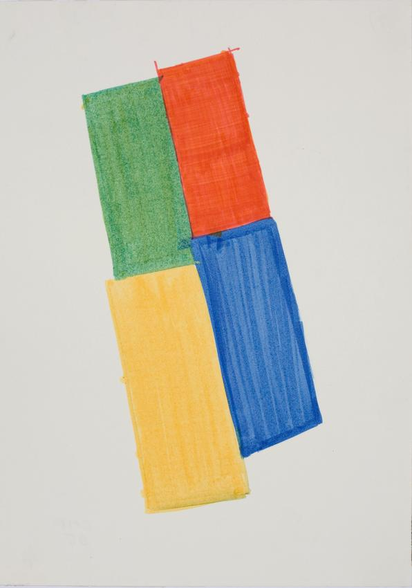 CHARLOTTE POSENENSKE<br /><i>Farbige Skizze [Colored Sketch]</i><br />1965<br />felt-tip marker on paper<br />13 3/8 x 9 1/2 inches (34 x 24.1 cm)<br />PF3149<br />