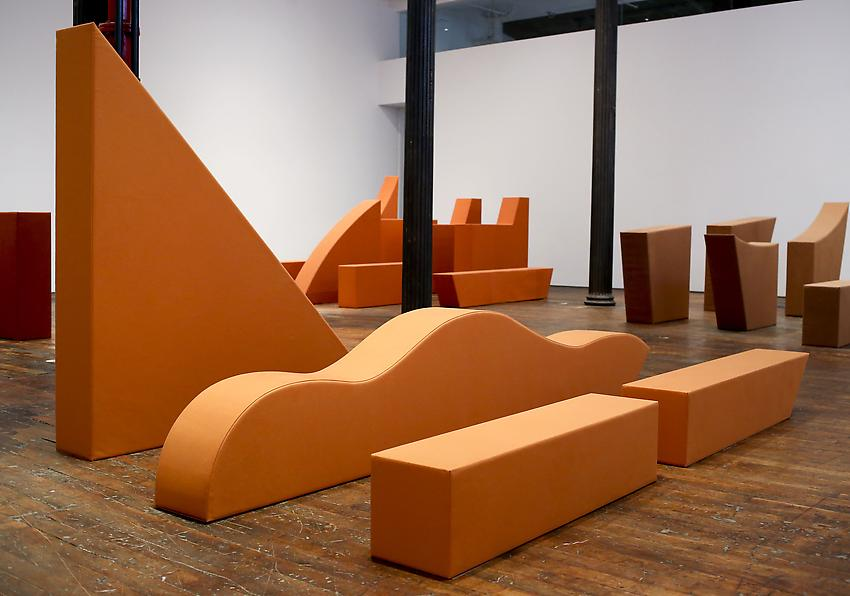 Franz Erhard Walther<br />Body Shapes (Ochre, Four Elements)<br />2011<br />sewn dyed canvas, nettle cloth, foam and cotton tissue<br />dimensions vary by installation<br />PF2954<br />