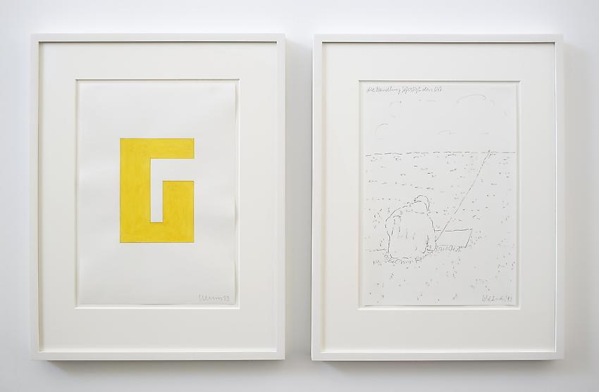Franz Erhard Walther<br />Untitled (G)<br />2013<br />2 drawings: gouache and graphite on paper; <br />  graphite on paper<br />each: 16 1/2 x 11 3/4 inches (41.91 x 29.7 cm) <br />PF2964<br />