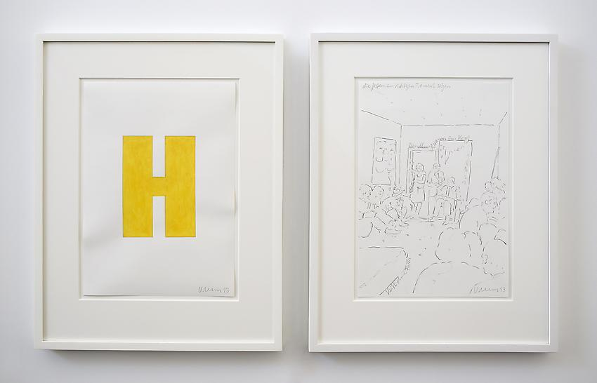 Franz Erhard Walther<br />Untitled (H)<br />2013<br />2 drawings: gouache and graphite on paper; <br />  graphite on paper<br />each: 16 1/2 x 11 3/4 inches (41.91 x 29.7 cm)  <br />PF2965<br />