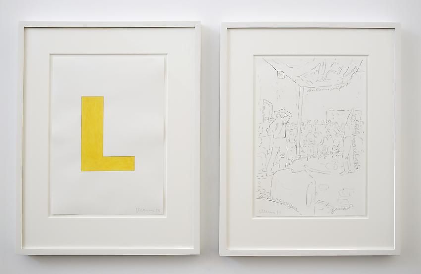 Franz Erhard Walther<br />Untitled (L)<br />2013<br />2 drawings: gouache and graphite on paper; <br />  graphite on paper<br />each: 16 1/2 x 11 3/4 inches (41.91 x 29.7 cm) <br />PF2966<br />