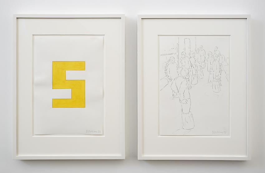 Franz Erhard Walther<br />Untitled (S)<br />2013<br />2 drawings: gouache and graphite on paper; <br />  graphite on paper<br />each: 16 1/2 x 11 3/4 inches (41.91 x 29.7 cm) <br />PF2971<br />
