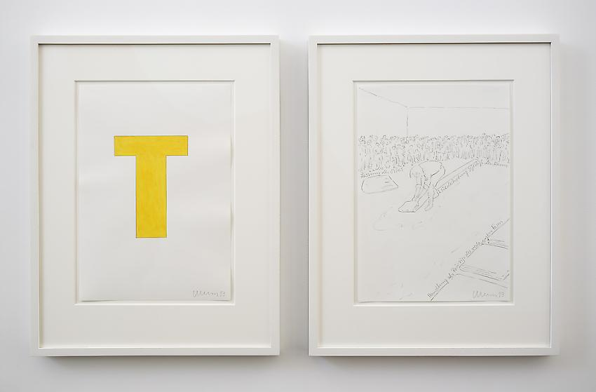 Franz Erhard Walther<br />Untitled (T)<br />2013<br />2 drawings: gouache and graphite on paper; <br />  graphite on paper<br />each: 16 1/2 x 11 3/4 inches (41.91 x 29.7 cm) <br />PF2972<br />
