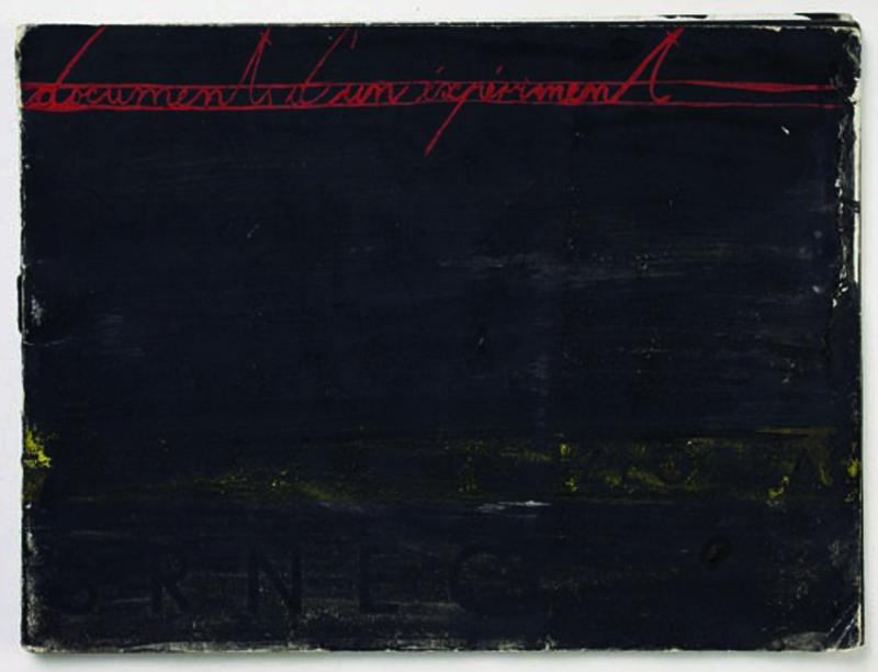 MANGELOS [DIMITRIJE BAŠIČEVIĆ] (1921-1987)<br />Documents d'un experiment<br />1954<br />painted catalogue: tempera on paper and on<br />staple-bound paper covers, 10 sheets<br />4 7/8 x 6 5/8 inches (12.5 x 16.8 cm)<br />