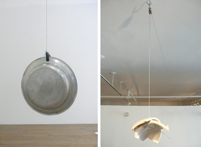 <u>Gong</u> (Two Histories)<br />2010<br />aluminium, cable and ceramic fragments<br />117 3/4 x 214 x 14 1/4 inches (299.1 x 543.6 x 36.2 cm)<br />