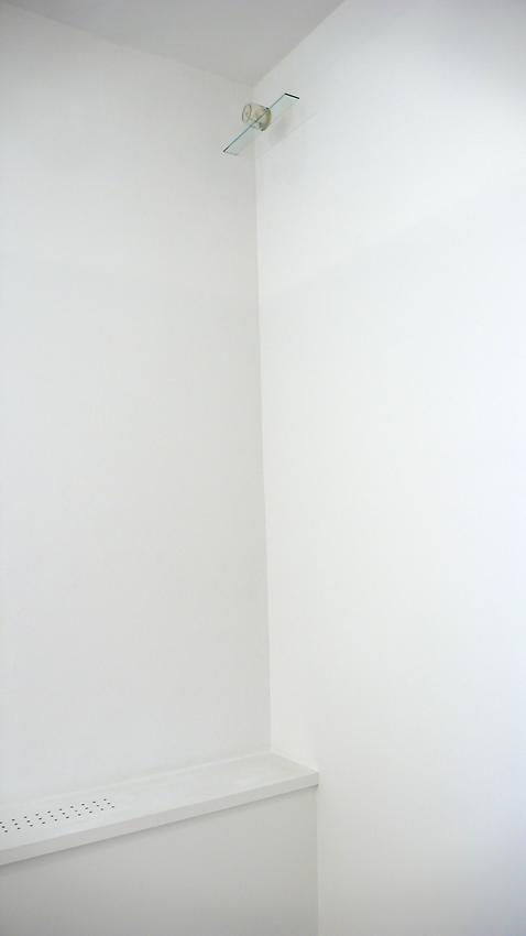 Richard Wentworth<br />Trophy<br />2010<br />glass jar, printed textbook title page, glass shelf<br />4 x 19 1/4 x 3 1/2 inches<br /> (10.2 x 49 x 9 cm)<br />