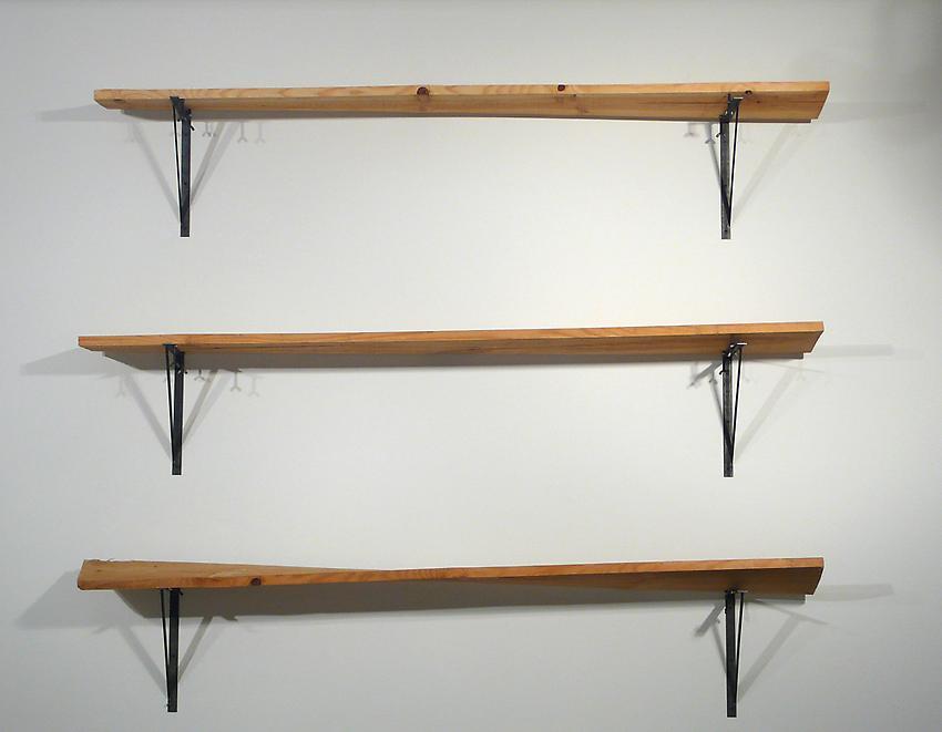 <u>Robinson A, Robinson B, Robinson C</u><br />2010<br />pine and steel<br />69 x 81 x 11 1/2 inches (175.3 x 205.7 x 29.2 cm)<br />