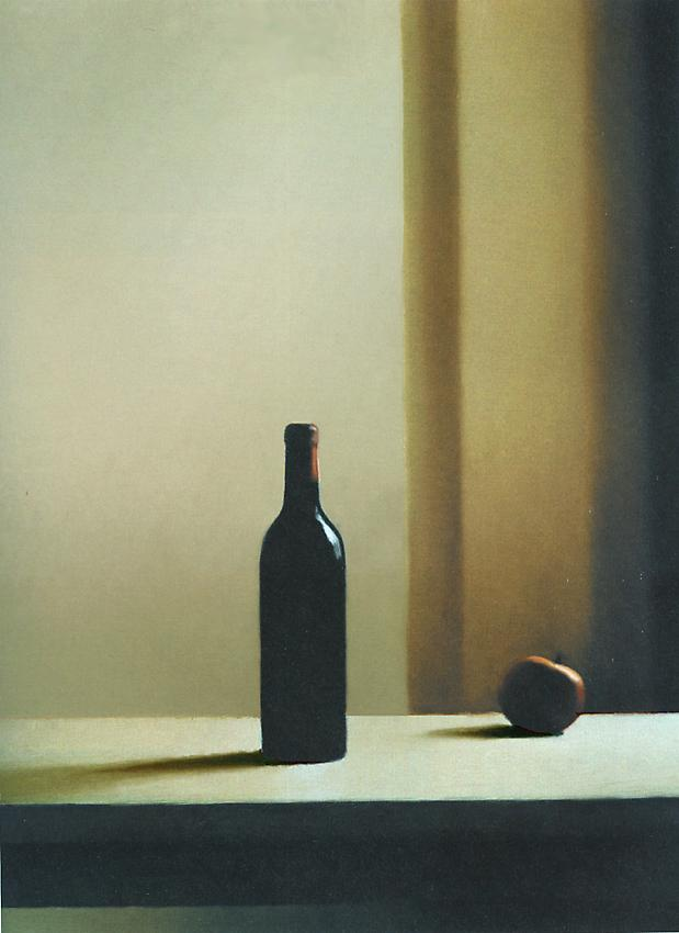 GERHARD RICHTER<br /><i>Flasche mit Äpfeln</i> [Bottle with Apple]  (663-6)<br />1988<br />oil on canvas<br />32 5/16 x 24 7/16 inches (82 x 62 cm)<br />