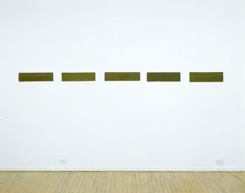 Helen Mirra<br />Marsh, Sentient third, Beneficial third, Relational third, Non-thought third<br />2003<br />milk paint and putty on wood, in five parts<br />5 ½ x 123 ½ x 5/8 inches<br /> (14 x 313.7 x 1.6 cm)<br />