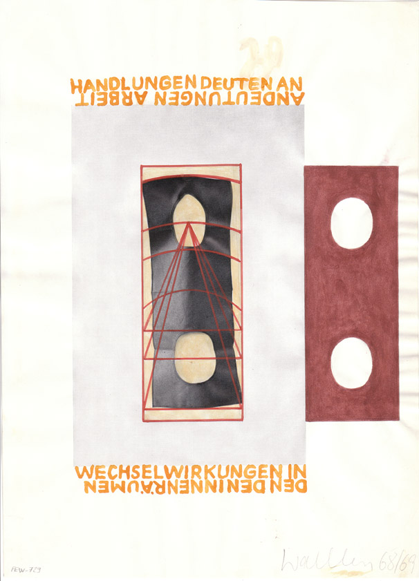 FRANZ ERHARD WALTHER<br />Werkzeichnung<br />1968-1969<br />offset print, pencil and gouache on paper<br />11 5/8 x 8 3/8 inches (29.6 x 21.4 cm)<br />PF1733<br />