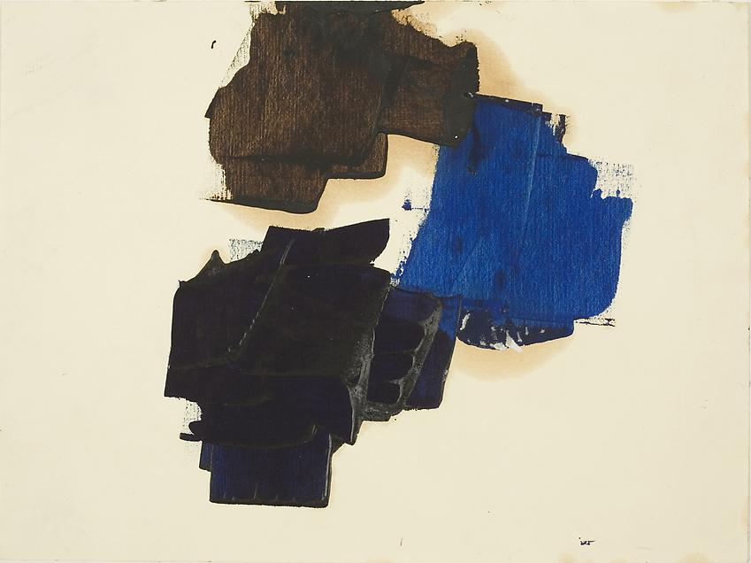 Charlotte Posenenske<br />Untitled, c. 1962<br />oil on paper<br />9 1/2 x 12 5/8 inches<br />