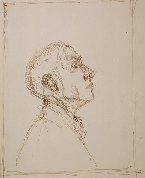 ALBERTO GIACOMETTI  (1901-1966)<br /><i>Portrait de Pierre Reverdy de profil droit</i><br />1962<br />ballpoint pen on paper<br />11 1/8 x 8 7/8 inches (28.4 x 22.7 cm)<br />