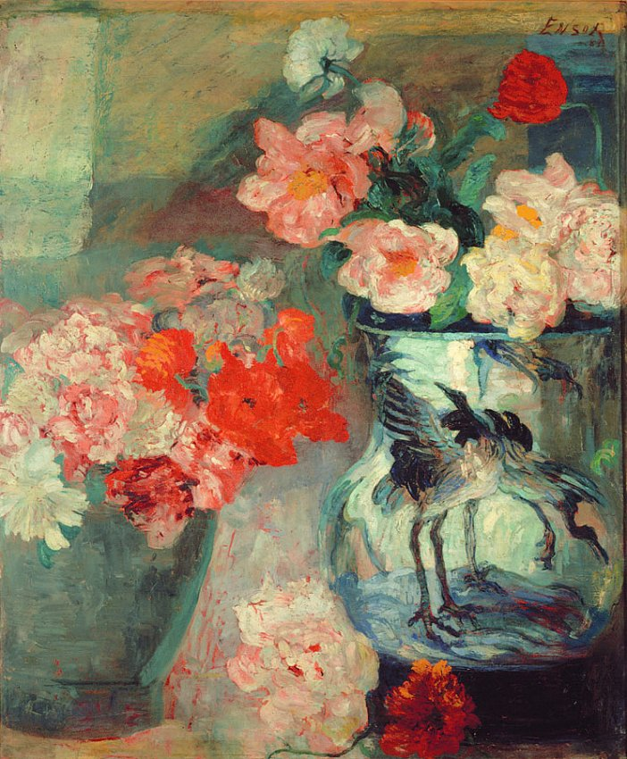 James Ensor<br />Pivoines et pavots (Peonies and Poppies)<br />1883<br />oil on canvas<br />137 x 112.5 cm<br />