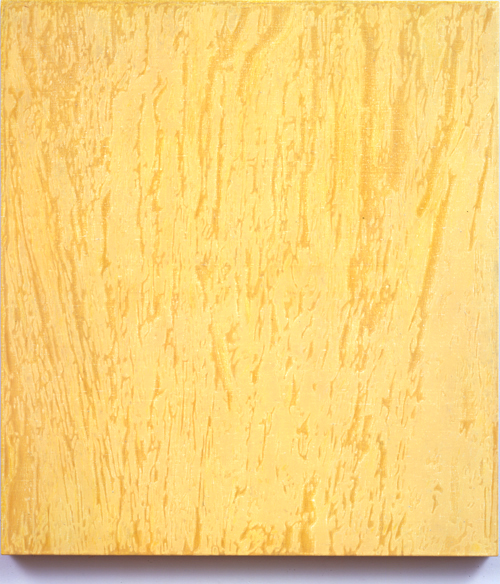 Alex Hay<br />Yellow Time<br />2007<br />spray acrylic and stencil on linen<br />46 3/16 x 41 1/2 x inches<br />(117.32 x 105.41 cm)<br />