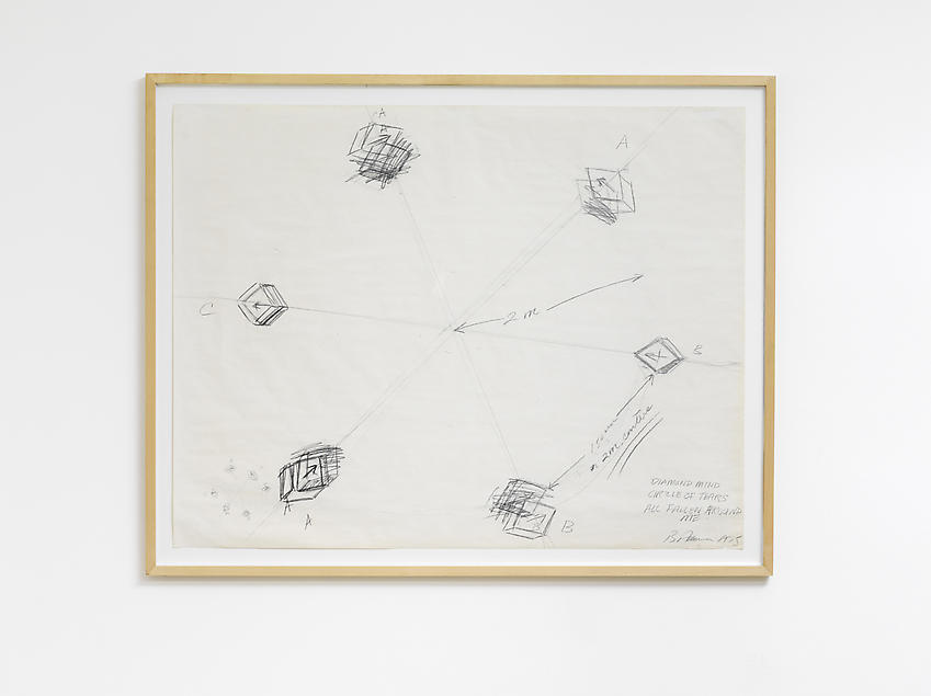 BRUCE NAUMAN<br />Diamond Mind Circle of Tears Fallen All Around Me<br />1975	<br />graphite on paper<br />34 x 44 inches (86.4 x 111.8 cm)<br />