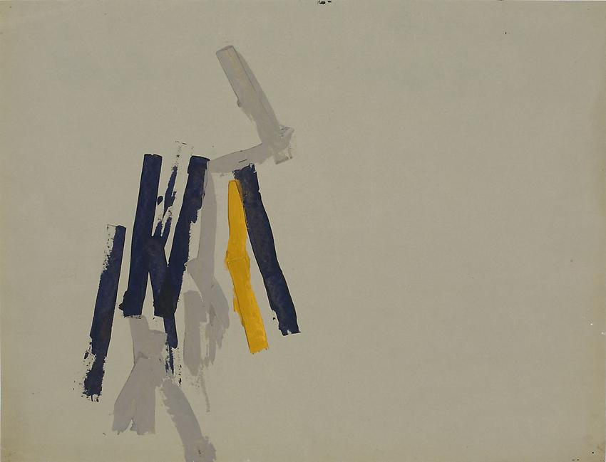Charlotte Posenenske<br />Streifenbild (Striped Picture), c. 1962<br />acrylic on grey paper<br />19 5/8 x 23 5/8 inches<br />