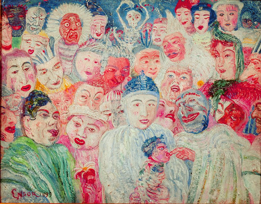 Pierrot aux masques (Pierrot with Masks)<br />1899<br />oil on panel<br />20 x 24.5 cm<br />