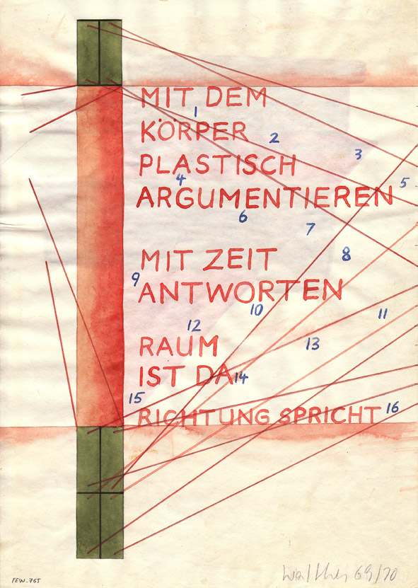 FRANZ ERHARD WALTHER<br />Werkzeichnung<br />1969-1970<br />watercolor, pencil and gouache on paper<br />11 5/8 x 8 1/4 inches<br />  (29.6 x 21 cm)<br />PF1734<br />