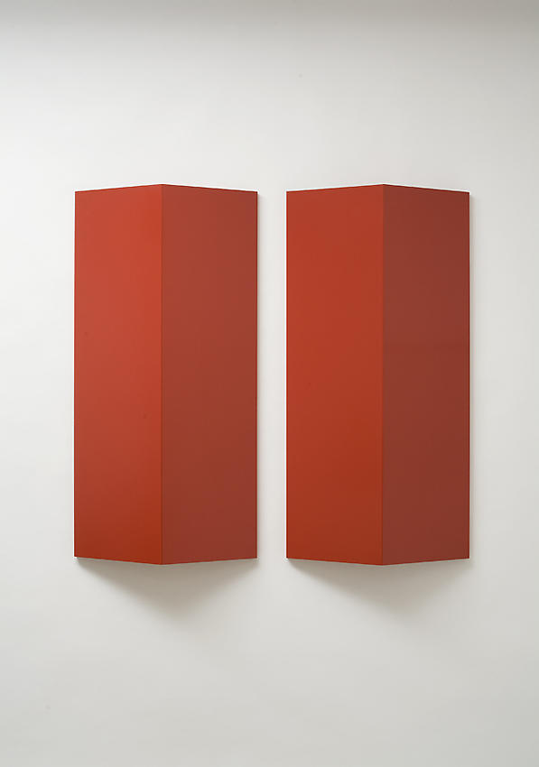 Charlotte Posenenske<br />Relief, Series B, 1967<br />RAL red spray paint on sheet aluminum, convexly folded<br />39 3/8 x 19 5/8 x 5 1/2 inches<br />