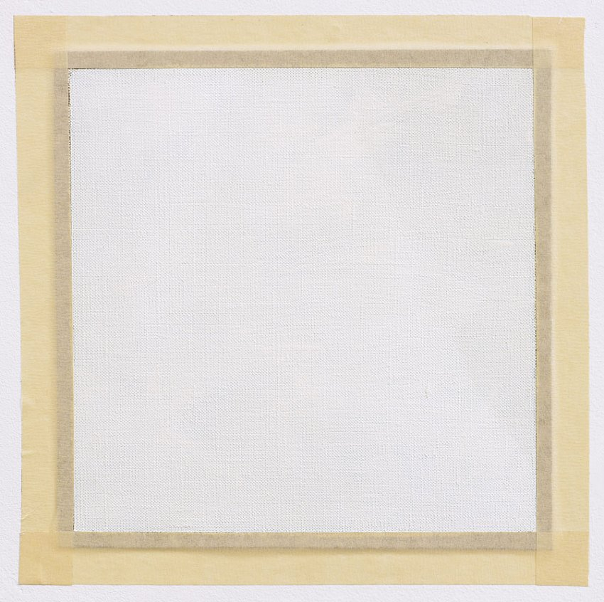 ROBERT RYMAN<br />	Untitled<br />	ca. 1967<br />	oil paint on unstretched linen, with masking tape<br />	11-3/16 x 11-3/16 inches (28.42 x 28.42 cm)<br />