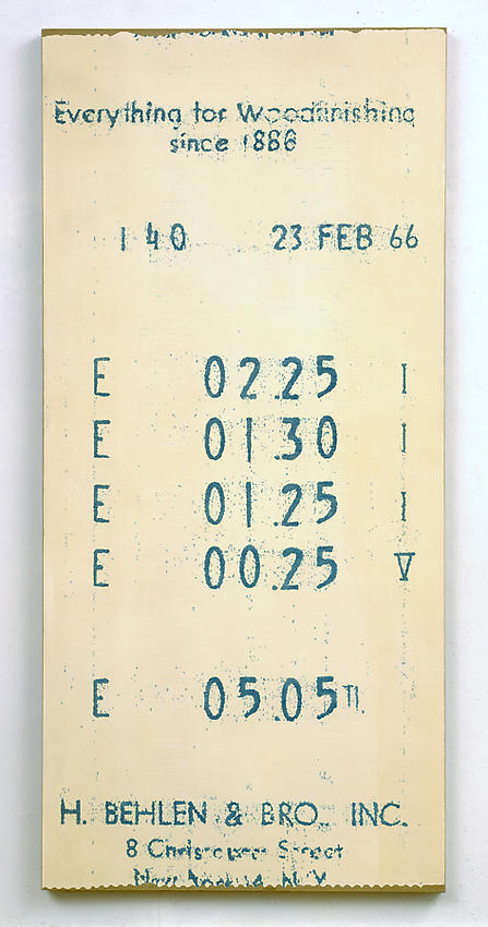 Alex Hay<br />Cash Register Slip<br />1966<br />spray lacquer and stencil on linen<br />80 5/8 x 37 7/8 inches<br />  (204.8 x 96.2 cm)<br />