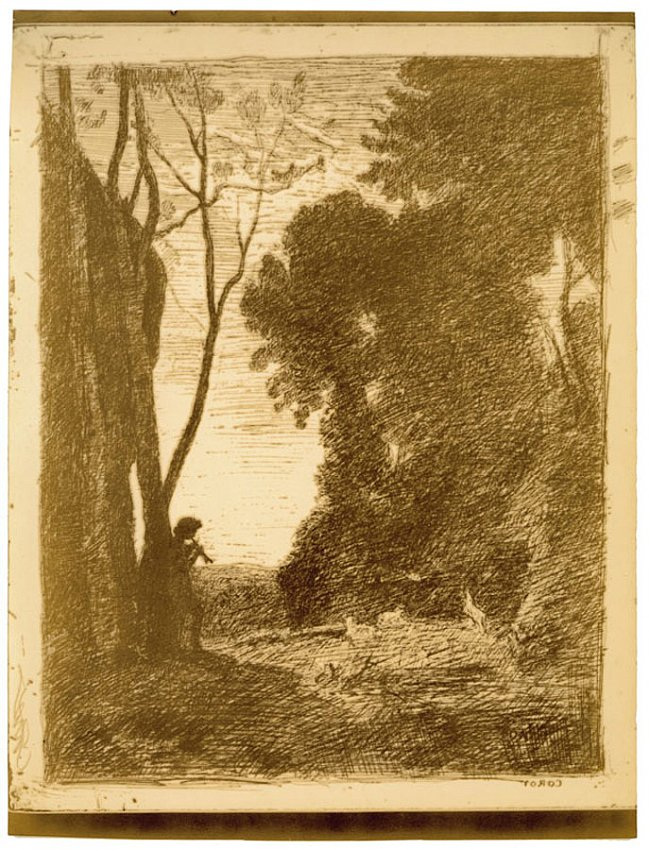 Jean-Baptiste-Camille Corot<br />Le Petit Berger (second plate)<br />1855<br />counter proof salt print<br />15 1/8 x 11 3/8 inches<br />38.3 x 28.9 cm<br />