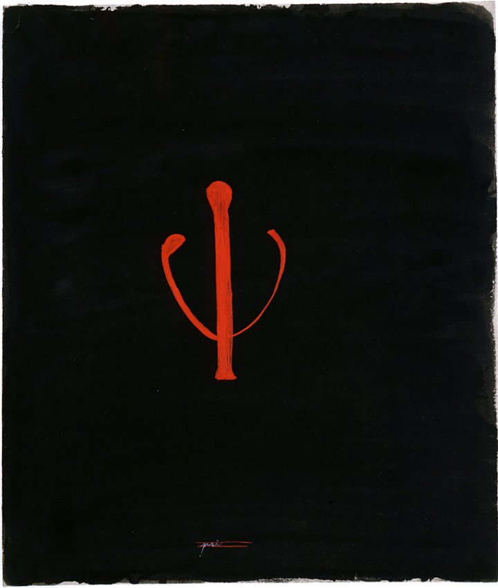 MANGELOS  (1921 - 1987)<br /><i>Delta</i><br />m. 5 (1951-56)<br />tempera on cardboard<br />12 1/6 x 10 1/16 inches (30.9 x 25.7 cm)<br />