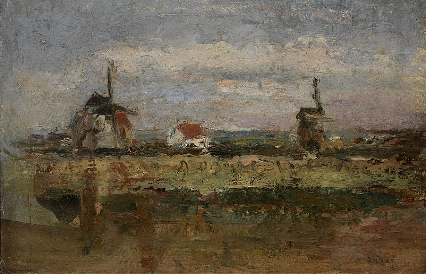 Les deux moulins (The Two Windmills)<br />1880<br />oil on cardboard mounted on wood panel<br />24 x 35 cm<br />
